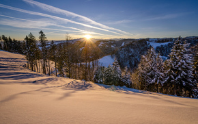sunset, winter, Mountains, snow, trees, landscape