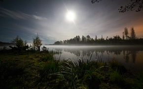 night, Star, grass, trees, forest, lake, water, sky, moon, space, romance, journey, Priozersk District, Leningrad region, Russia, nature, landscape