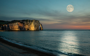sea, shore, beach, moon, full moon, sky, Rocks, cliff, Normandy, France, nature, landscape