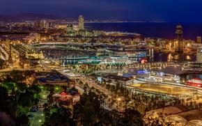 barcelona, Katoloniya, notte, città, domestico, luci, mare