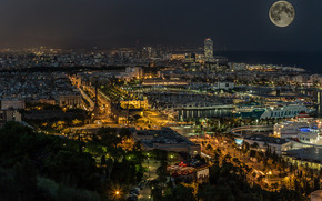 barcelona, Katoloniya, night, city, home, lights, sea, moon, ships