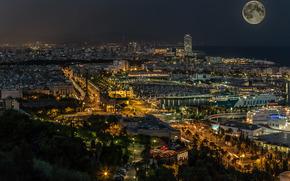 Barcelona, Katoloniya, noche, ciudad, casa, luces, mar, luna, barcos