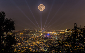 barcelona, Katoloniya, night, city, home, lights, sea, moon, laser, trees, bush