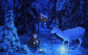 Silver Hoof, boy, deer, forest, night, fantasy