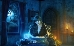 night, table, Candles, magic, soothsayer, kitten
