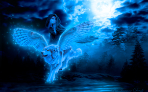 night, girl, winged wolf, fantasy