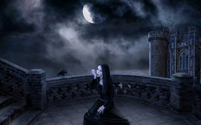 night, moon, castle, vampire, fantasy