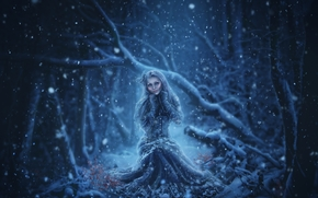 night, forest, snow, girl, art