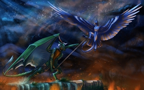 night, Dragons, fantasy