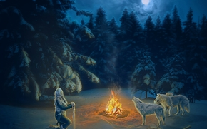 night, BONFIRE, girl, Wolves