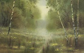 水彩, 景观, 性质, 图片, 绘画, 绘画