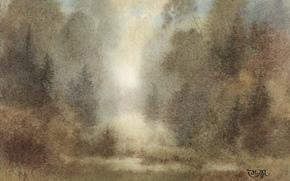acquerello, paesaggio, natura, immagine, disegno, pittura