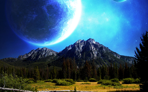 космос, планеты, 3d, art
