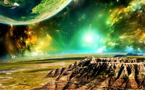 espace, Planète, 3d, art