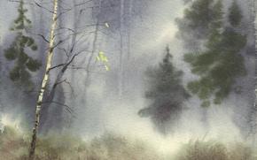 акварель, пейзаж, природа, картина, рисунок, живопись