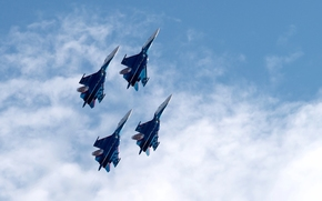 Russian Knights, Russian Air Force, Su-27, fighters, Airshow, sky