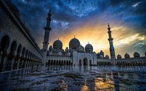 Grande Mosquée Sheikh Zayed, Abu Dhabi, Émirats arabes unis, Mosquée Sheikh Zayed, Abu Dhabi, Émirats arabes unis, coucher du soleil
