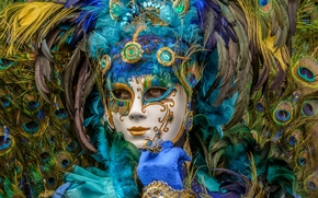 carnival, mask, plumage, peacock