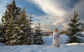 winter, snow, trees, drifts, Young lady, landscape