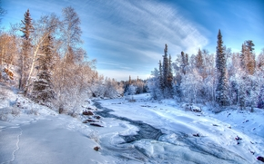 winter, river, snow, trees, landscape