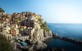 Manarola, Cinque Terre, Italia, Mar de Liguria, Manarola, Cinque Terre, Italia, Mar de Liguria, Rocas, mar, edificio, paisaje, costa