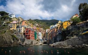 Riomaggiore, Cinque Terre, Liguria, Italia, Mar de Liguria, Riomaggiore, Cinque Terre, Liguria, Italia, Mar de Liguria, mar, costa, edificio, Boyas