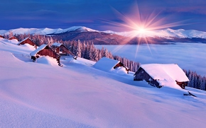 winter, sunset, Mountains, lake, trees, home, snow, drifts, landscape
