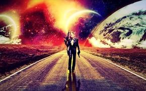 дорога, девушка, планеты, 3d, art