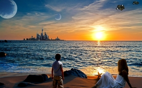 sunset, shore, city, children, Planet, art