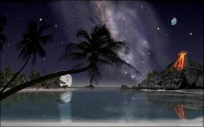 ночь, море, лагуна, берег, пальмы, вулкан, art