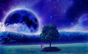 field, night, tree, deer, planet, art