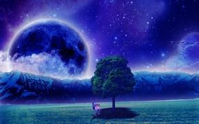 поле, ночь, дерево, олень, планета, art
