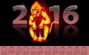 calendario con un mono de fuego, Calendario para 2016, calendario con un mono, 2016