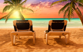 tramonto, mare, puntellare, lettini, Palme, paesaggio