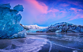Vatnajökull, Auster-Skaftafellssysla, Iceland, ледник Ватнайёкюдль, Исландия, лёд, вода, горы, закат