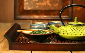 зелёный чай, чайник, посуда