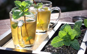 зелёный чай, кружки, посуда