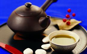 tè verde, bollitore, stoviglie