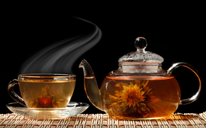 green tea, kettle, crockery