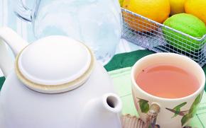 green tea, citrus, crockery