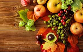 tabla, fruta, manzanas, comida