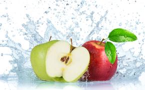 Fresh fruit with water splash, fruit, spray, apples