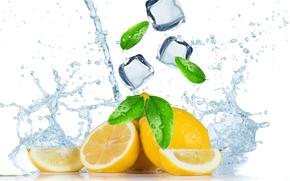 Fresh fruit with water splash, fruit, spray, tsytrusy, ice