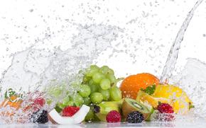 Frutta fresca con spruzzi d'acqua, frutta, spruzzo