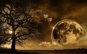 ночь, восход, солнце, земля