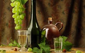 tabla, vino, uvas, vidrio
