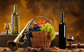 wine, grapes, Baskets