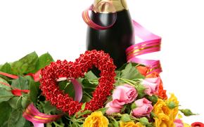 шампанское, сердечко, цветы, розы