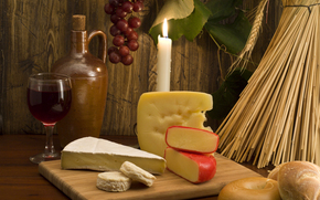 table, Products, cheese, candle, wine