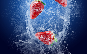 strawberries, berry, spray